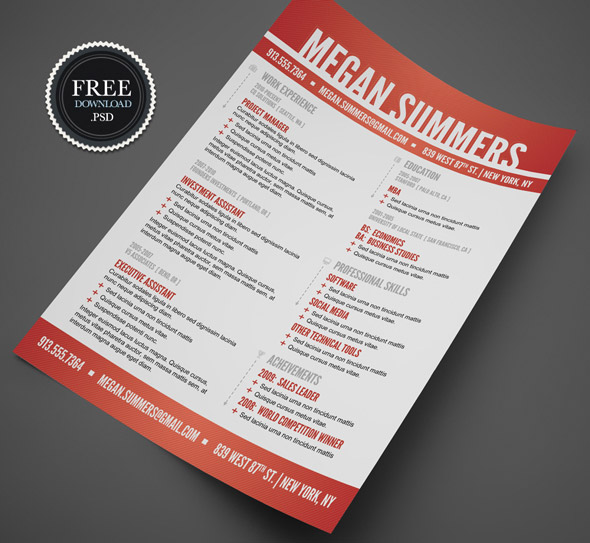 free psd resume download