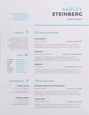 minimalist resume light blue