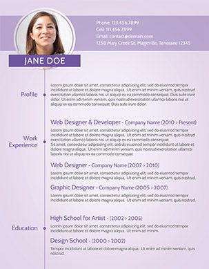 modern photoshop purple resume