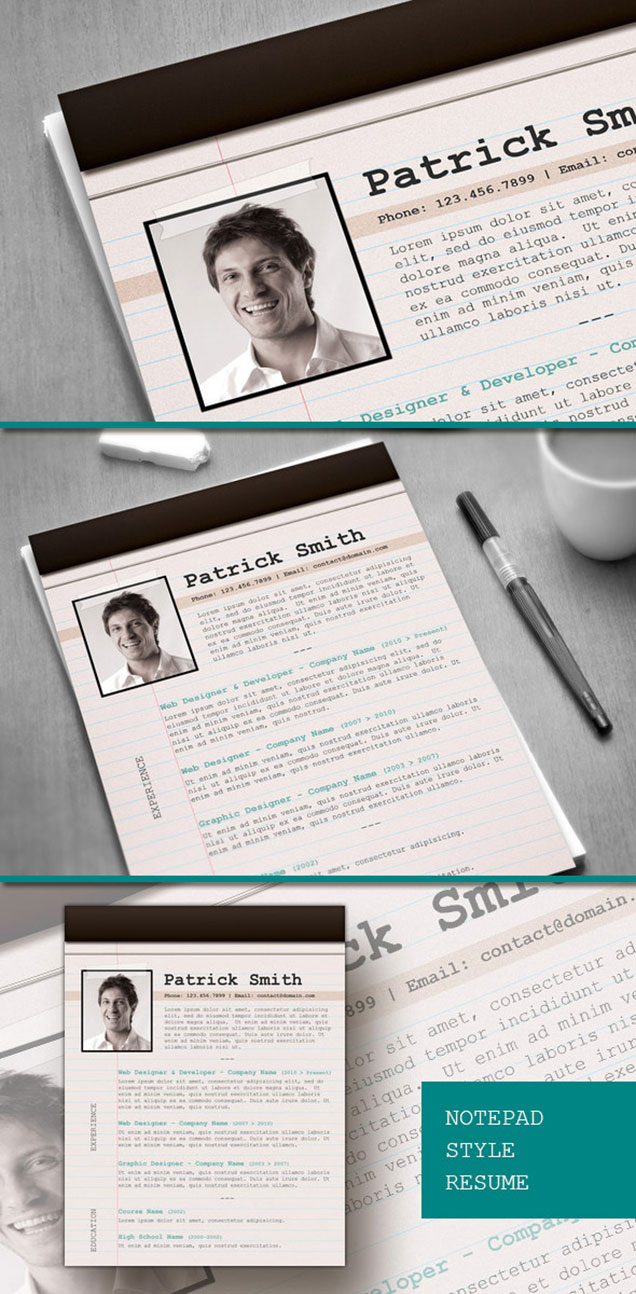 Notepad Style Resume Design Fancy Resumes