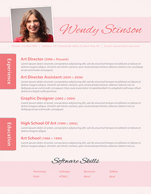 pink resume cover letter business card