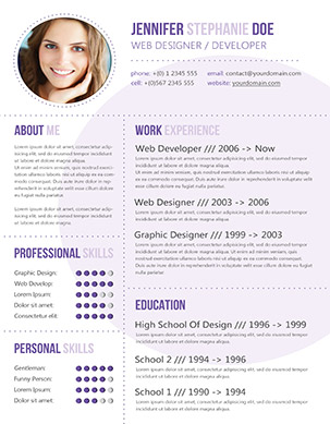 purple cv a4 - Contemporary Resume Templates