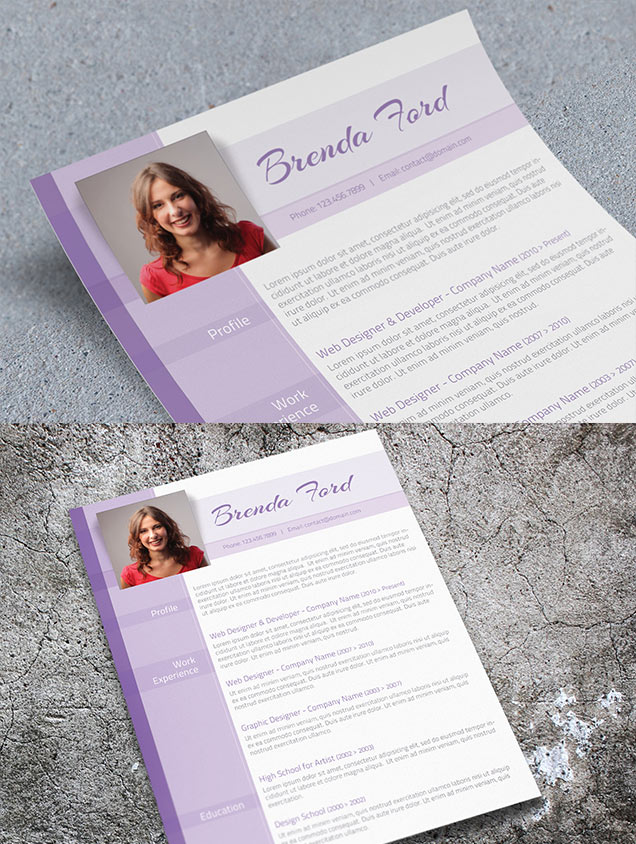 purple cv template  u2013 fancy resumes
