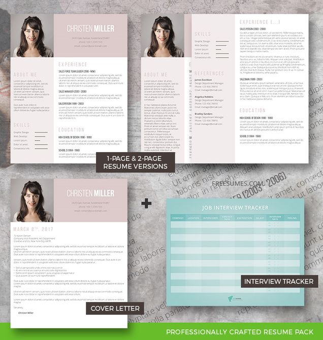 resume template set vintage rose