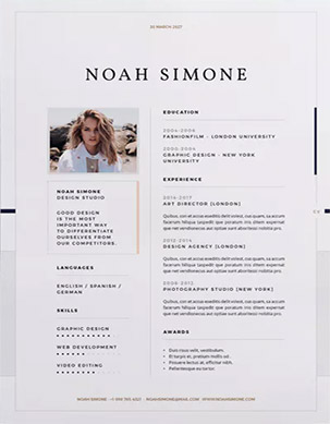 stylish InDesign resume template