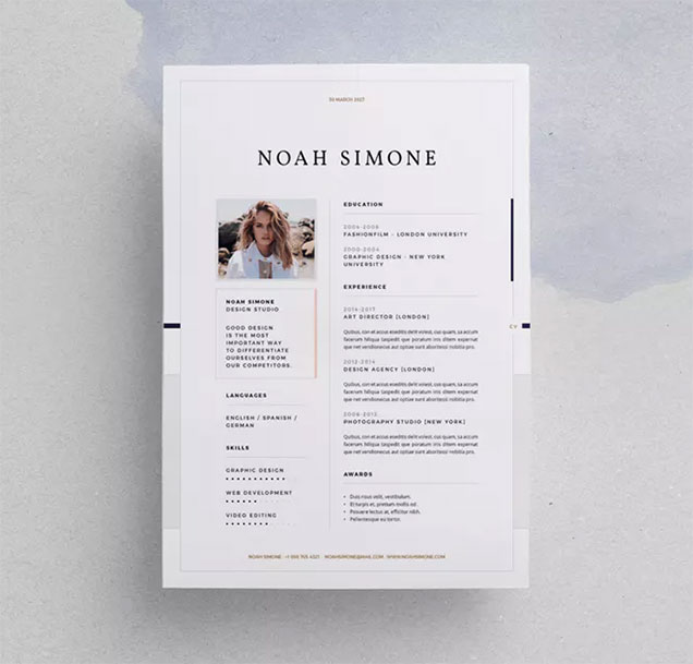 stylish indesign resume