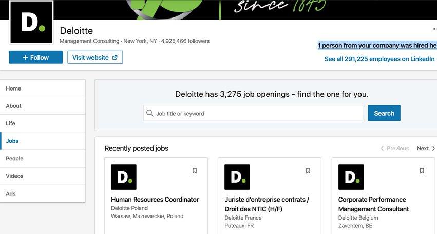 LinkedIn company page for Deloitte